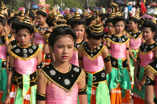 Girls on a parade in Sukhothai, Thailand for Loi Krathong