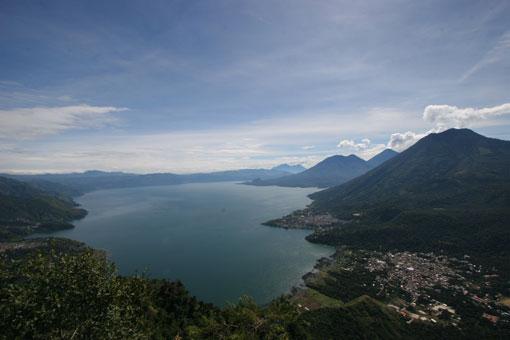 Lake Atitlan, Guatemala, showing San Pedro volcano
