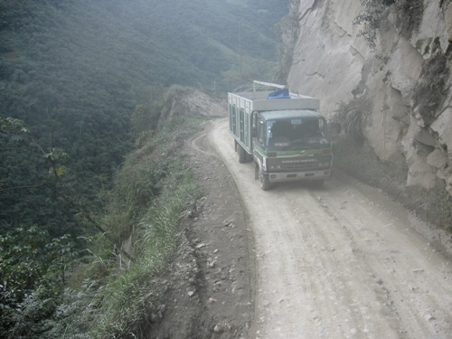 Death road by bus from La Paz to Rurrenabaque