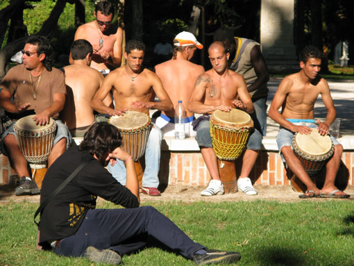 Drummers in the Retiro Park, Madrid, Spain