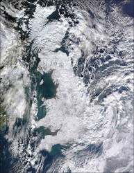 Satellite photo of Britain in the snow - Winter 2009