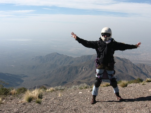 Paragliding in Mendoza. Just about to jump over the edge :-)