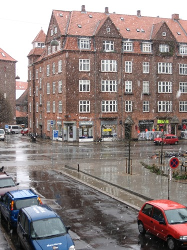 Snowing in April in Copenhagen