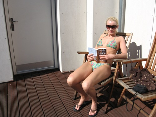 Suntanning on the rooftop terrace